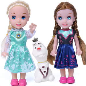 3pcs Frozen Princess Anna Elsa Dolls For Girls Toys Princess Anna Elsa Dolls styles of clothes 16cm Small Plastic Baby Dolls