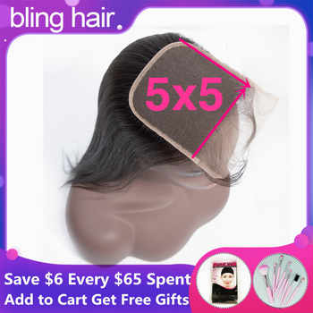 Bling Hair Straight Human Hair 5x5 Lace Closure Free/Middle/Three Part With Baby Hair Remy Peruvian 7x7 Closure Natural Color - DISCOUNT ITEM  43 OFF Hair Extensions & Wigs