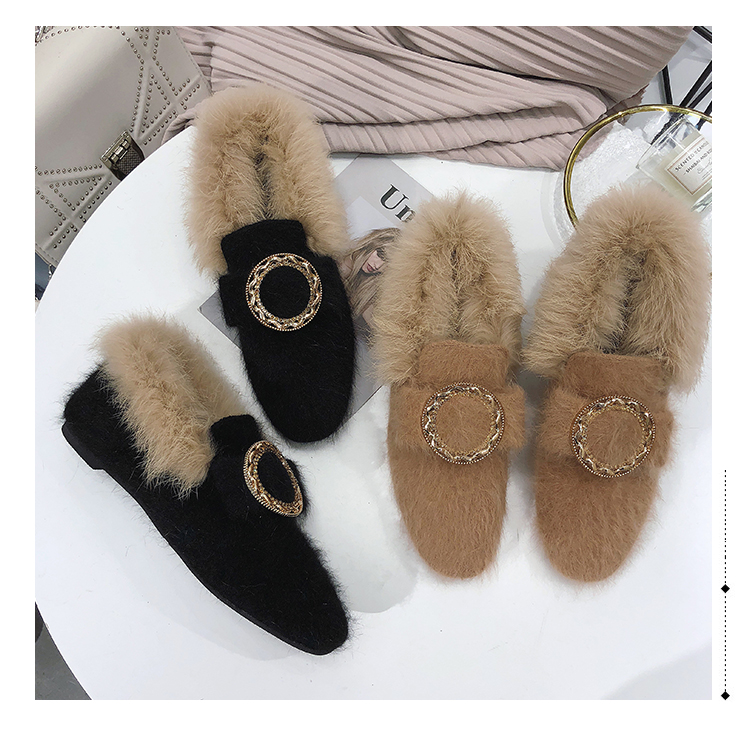 All-Match Shoes Woman 2019 Dress Flats Women Shallow Mouth Loafers Fur Modis Women's Moccasins Round Toe Casual Female Sneakers 47