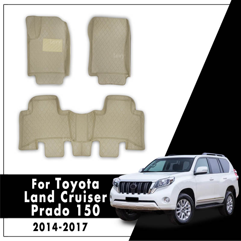 Car Floor Mats For <font><b>Toyota</b></font> Land Cruiser <font><b>Prado</b></font> 150 2017 <font><b>2016</b></font> 2015 2014 Car Interior <font><b>Accessories</b></font> Waterproof Anti-dirty Leather image