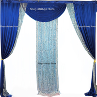 3m x 3m backdrop drape swag valance with sequin fabric panels for wedding backdrop photo booth decoration