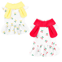 Cherry Pattern Short Dress Girls Dress Dog Print Cute Clothing For Girls Red Rabbit Ear Sleeveless Skirt Clothes for Dog Dresses cherry print wrap dress