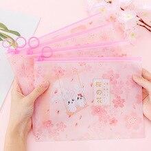 Вишневый Сакура Kawaii Кролик ПВХ палец кольцо молния Пылезащитная папка для документов сумка канцелярская сумка