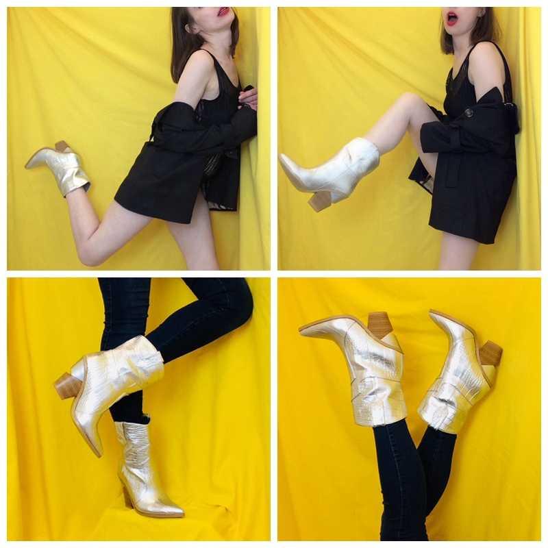 Meotina ยี่ห้อผู้หญิงฤดูหนาวรองเท้าบู๊ทกลางลูกวัวแปลกสไตล์ส้นสูง Western รองเท้า Pointed Toe รองเท้าผู้หญิงฤดูใบไม้ร่วงขนาด 33-46