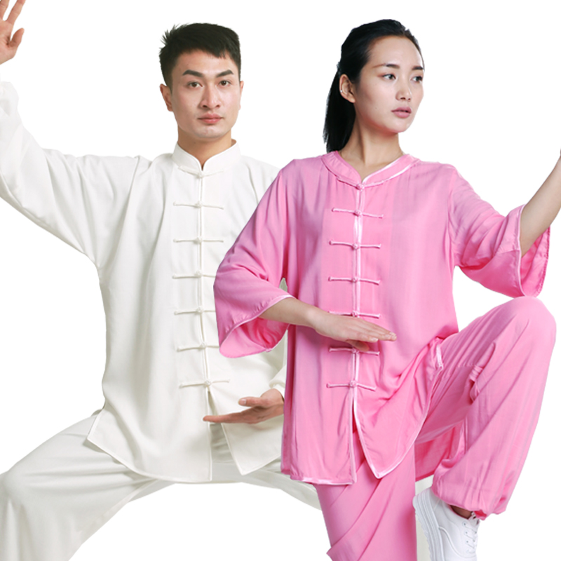 2019 Chinese Men Women Satin Kung Fu Uniform Traditional Male Wu Shu Sets Tai Uniform Clothing Plus Jiu Jitsu Wushu Tai Chi Suit