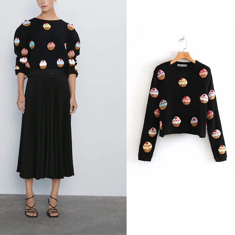 Za 2019 Women Fashion Vintage Sweet Cake Appliques Short Style Knitted Sweater  O Neck Long Sleeve Stylish Pullovers Chic Tops
