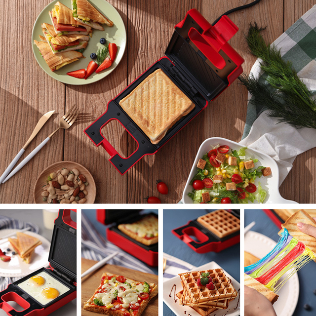 ANIMORE Electric Egg Sandwich Maker Mini Grilling Panini Baking Plates Toaster Multifunction Non-Stick waffle Breakfast Machine 3