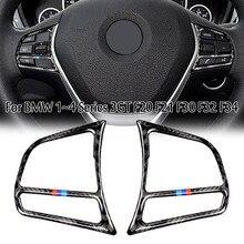 Dla BMW serii 4 F32 2013 2018 akcesoria wnętrze prawdziwe przyciski na kierownicy samochodu z włókna węglowego naklejki pokrywa wykończenia dekoracyjne
