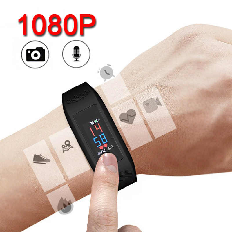 1080P larga grabación de Audio cámara HD Color pantalla táctil grabadora de voz Video adulto Fitness Tracker reloj pulsera banda inteligente