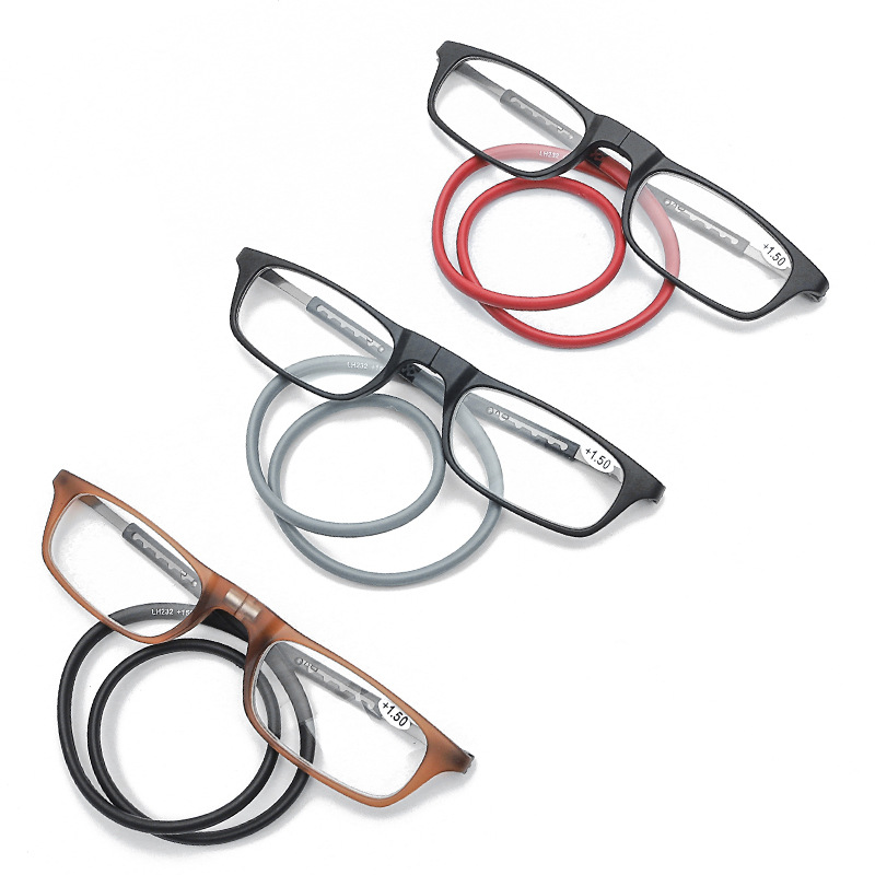 Portable Hanging Neck Reading Glasses Women And Men TR90 Frame Magnetic Reading Glasses Retro Square Retractable Reading Glasses
