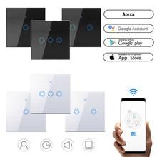 Intelligente WIFI Glas Panel Schalter EU Standard 220V LED Licht Lampe Touch Schalter APP Fernbedienung 1/2/3 Gang Smart WIFI Schalter