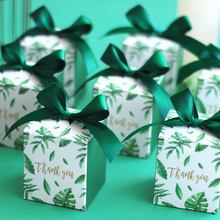 Green Leaves Gift Box Candy Packaging Paper Box Thank You Gift Boxes for Wedding Favor Boxes Baby Shower Party Bags Supplies multicolor new pillow shape gift box corrugated paper gift bags with tassel wedding favor candy boxes baby shower party supplies