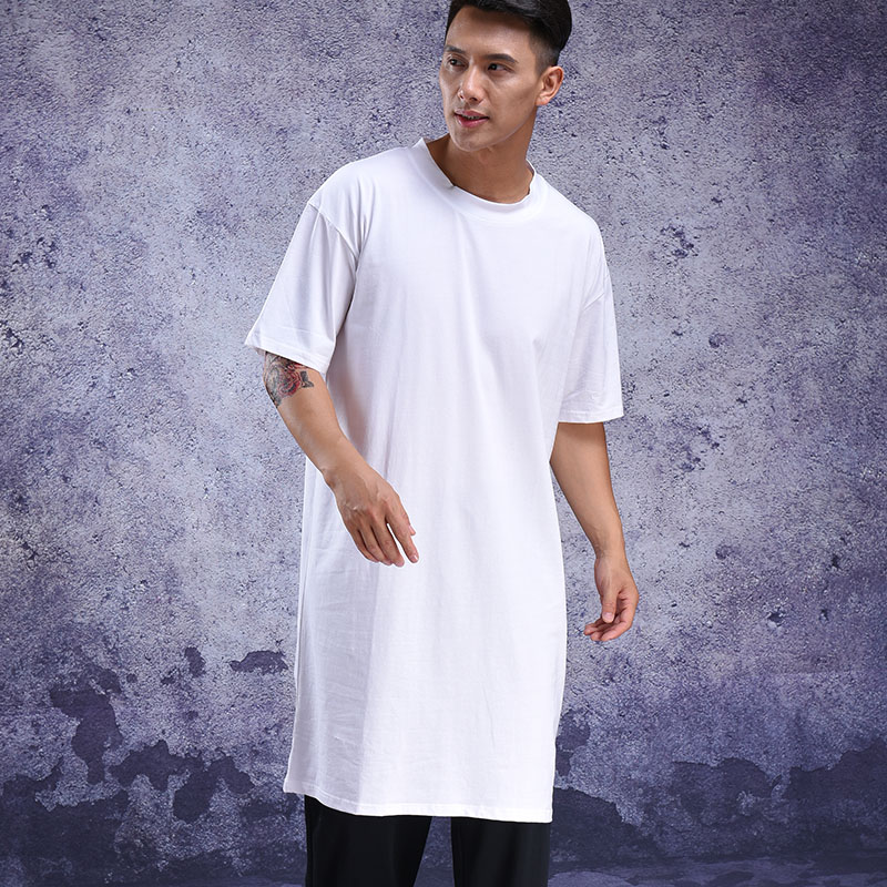 Summer Wear Personality Extra Long Half-sleeve T-shirt Bottom Shirt Short-sleeve Extra Loose T-shirt Over The Knee Long Tide Men