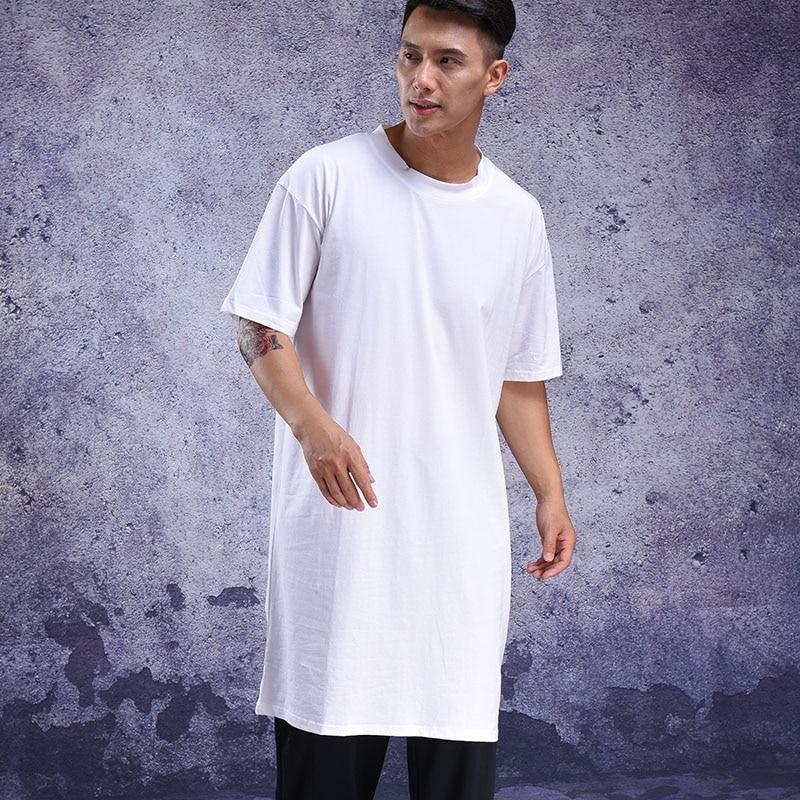 Summer Wear Personality Extra Long Half-sleeve T-shirt Bottom Shirt Short-sleeve Extra Loose T-shirt Over The Knee Long Tide Men