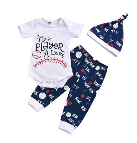 Pudcoco, conjuntos de ropa de verano para bebés recién nacidos, Body con estampado de letras de béisbol, chaleco, Tops, pantalones cortos, sombreros y pantalones, trajes de 0 a 3 años