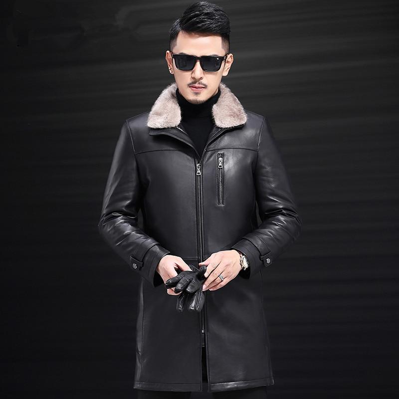 Genuine Leather Jacket Men Winter Sheepskin Coat Down Jacket Mink Fur Collar Sheep Shearling Jacket JLK17727 KJ1204