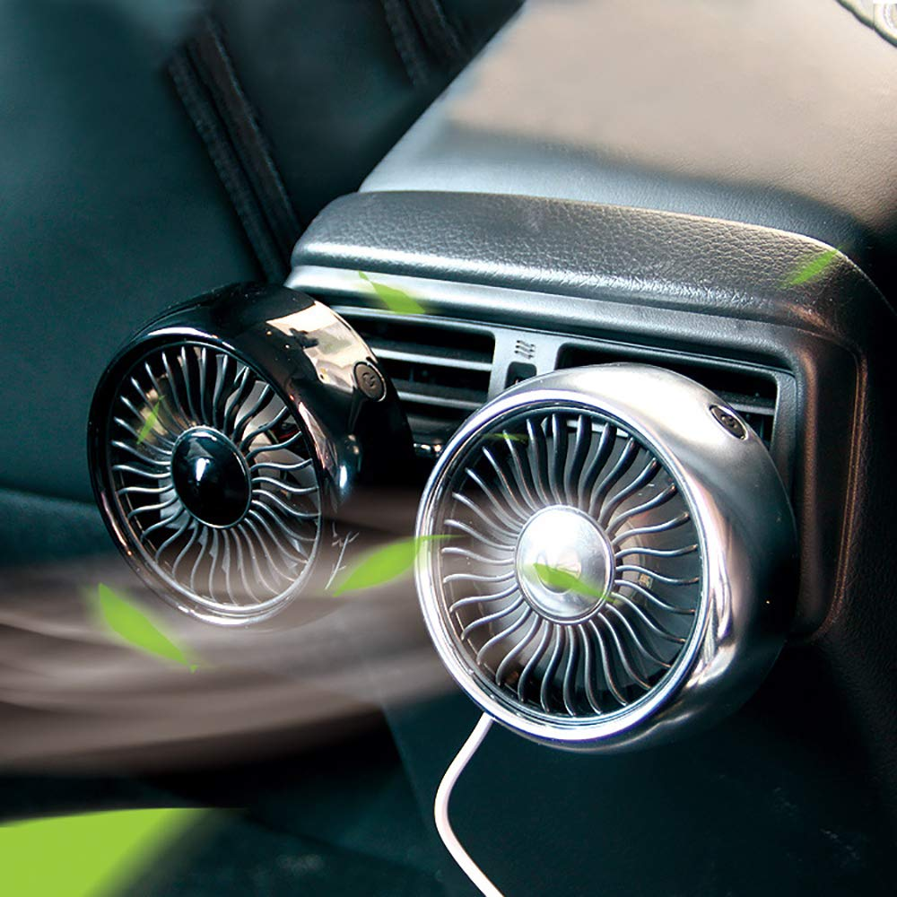 12V/24V Mini Electric Car Fan Low Noise Car Air Conditioner 360 Degree Rotating Cooling Fan Car Cooler Ventilador Summer
