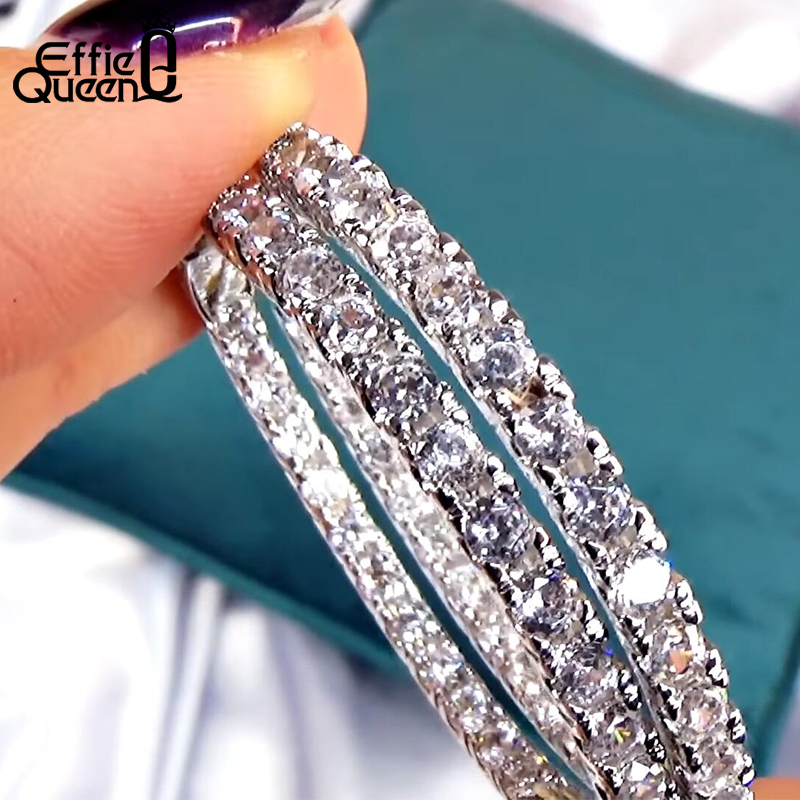 Effie Queen Women Big Round Hoop Earrings Luxury Cubic Zircon Vintage Eternity Circle Loop Earring Silver Color Jewelry DE137
