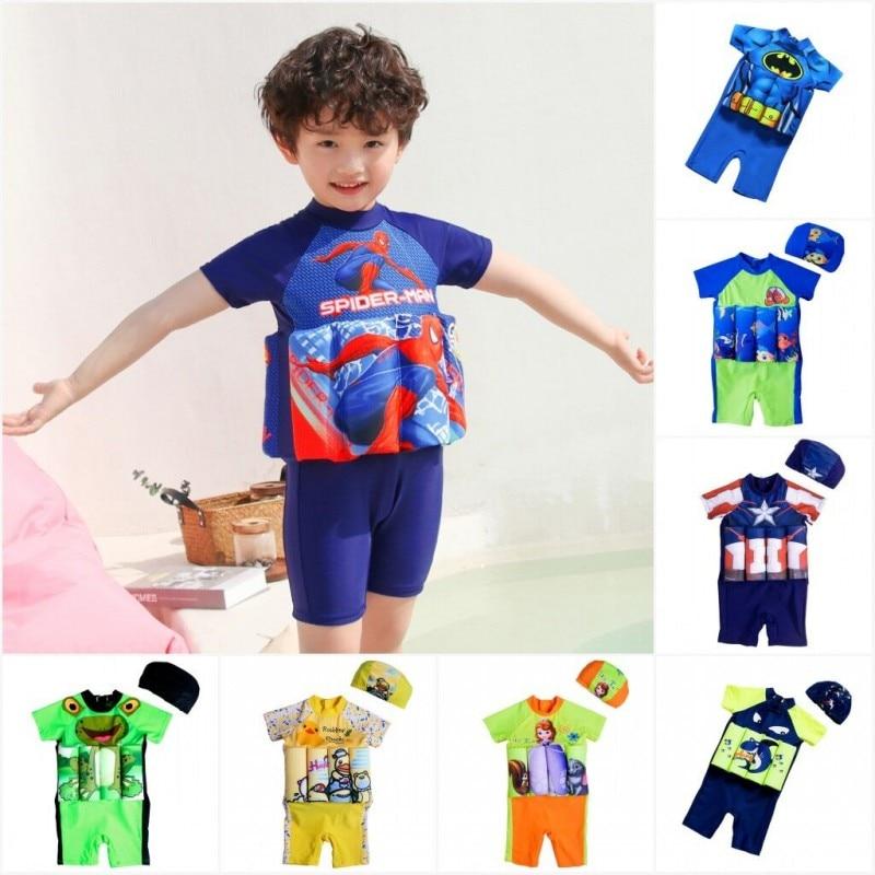 Spiderman Children Swimwear One-Piece Removable Buoyancy Float Swimsuit Swimming Cap Hat Sleeve Knee Suit Swim Lesson Float Suit
