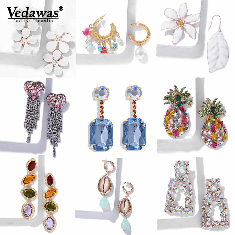 Vedawas Oversize Gold ZA Drop Earrings For Women Girl New Crystal Shell Simulated Pearl Dangle Earring 2019 Fashion Party xg3343