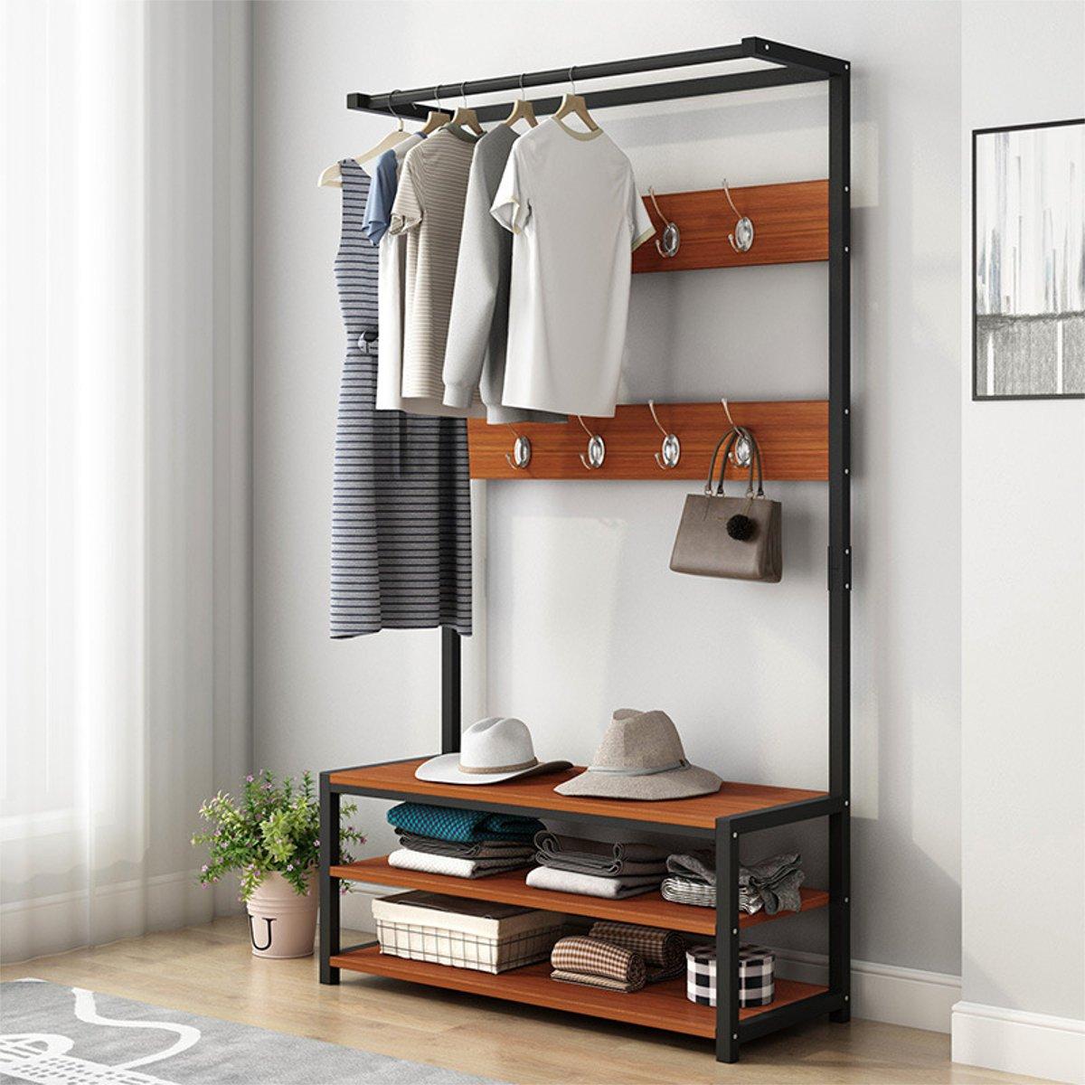 60/80cm 170cm Standing Coat Rack Shelf Multifunction Clothes Shoes Bench Hanger Hooks Storage Holder Living Room Furniture