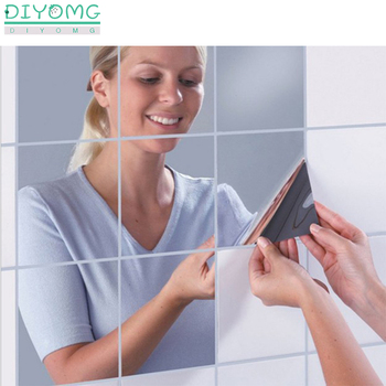 Bathroom Mirror Wall Stickers Decal 3D Self-adhesive Film Plastic Tiles Home Decor Acrylic Wallpaper