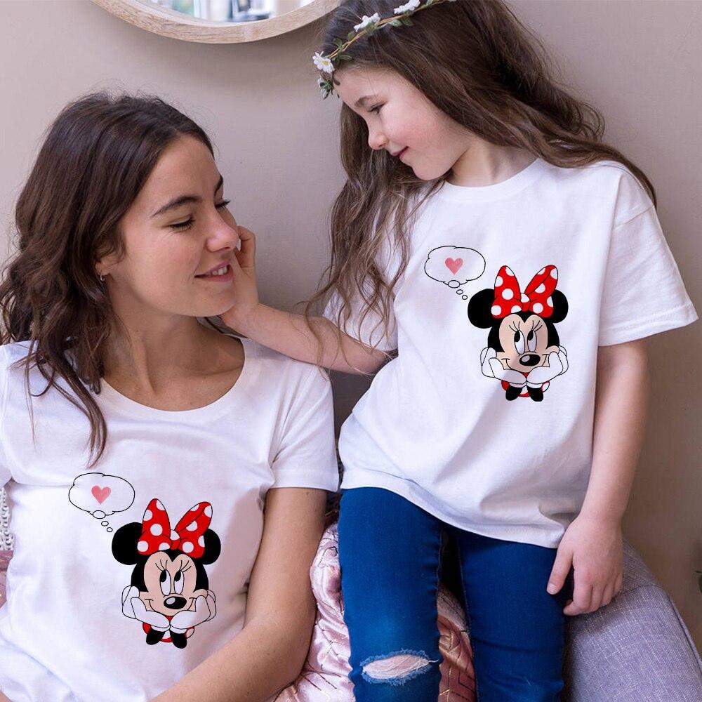 Minnie mouse print senhoras camisa casual base branco crianças t camisa de manga curta homem tshirt amor impressão gráfica olhar famliy