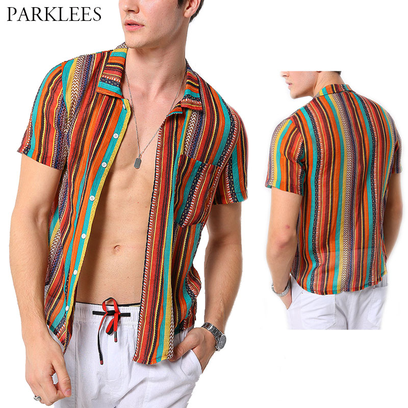 Summer Casual Men Shirts Linen Colorful Stripe Shirts Men Dress Fashion Retro Holiday Plus Size Mens Short Shirt Chemise Homme