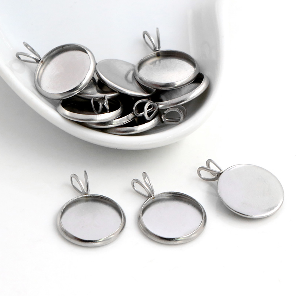 20pcs/Lot 8mm 10mm 12mm Inner Size Stainless Steel Material Simple  V Style Cabochon Base Cameo Setting Charms Pendant Tray