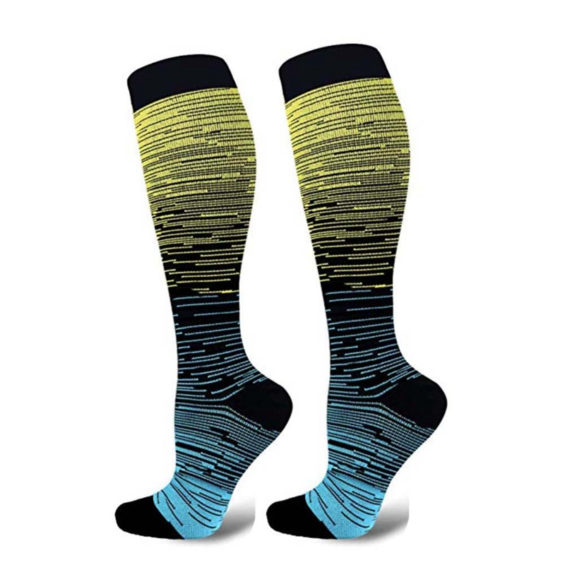 Compression Socks Knee High/Long Gradient Printed Polyester Nylon Hosiery Footwear Accessories For Unisex