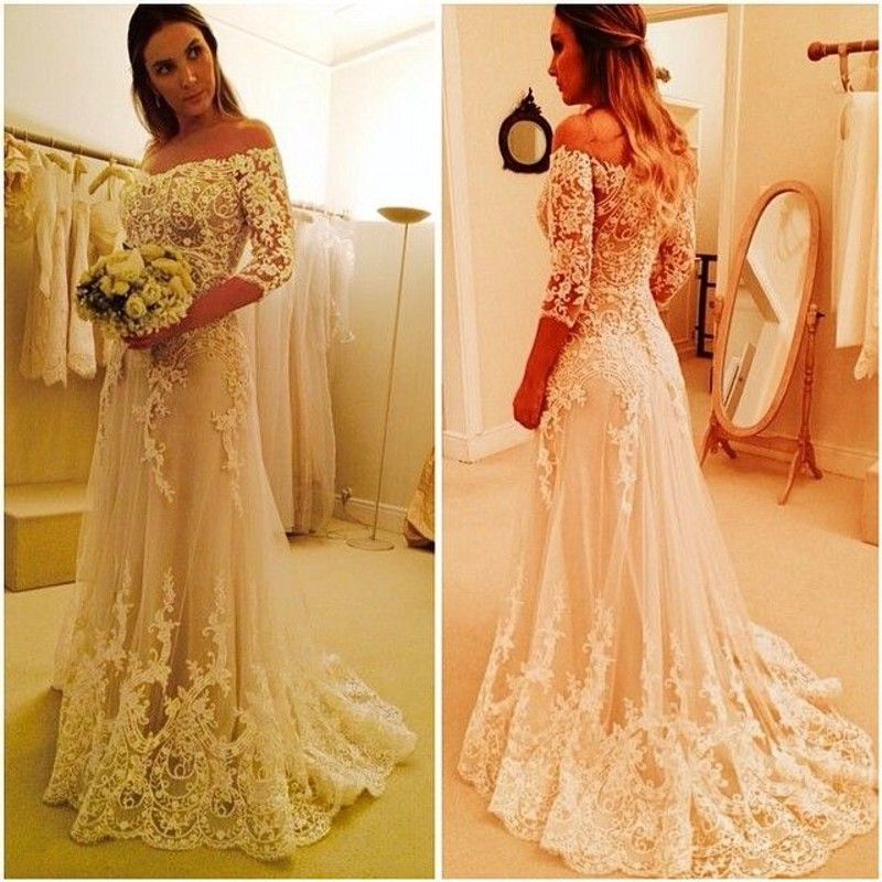 Gorgeous Lace 2018 Half Sleeve Sheer Back Applique Mermaid Bridal Gown Vestidos De Noiva Boat Neck Mother Of The Bride Dresses