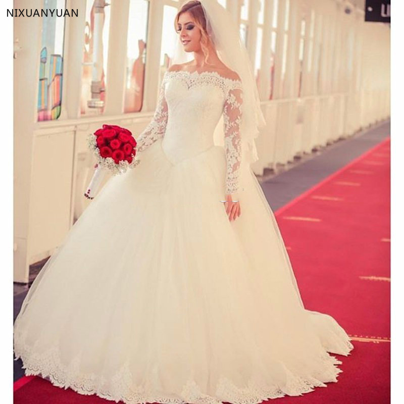 Vintage Tulle Full Sleeve Boat Neck Ball Gown Wedding Dresses 2019 Princess Lace Up Back Sweep Train Wedding Gowns