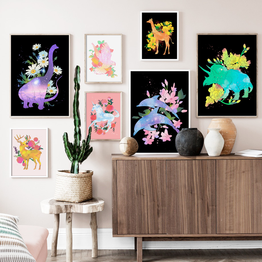 Deer Dolphin Giraffe Dinosaur Cartoon Nordic Canvas Posters And Prints Wall Art Canvas Painting Print Wall Pictures Kids Room in Painting Calligraphy from Home Garden