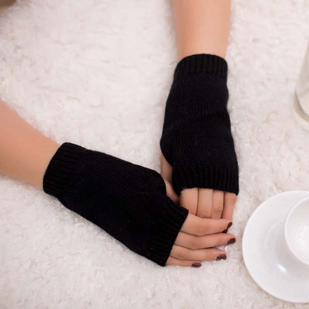 2019 Women Girl Knitted Arm Fingerless Warm Winter Gloves Soft Warm Mitten