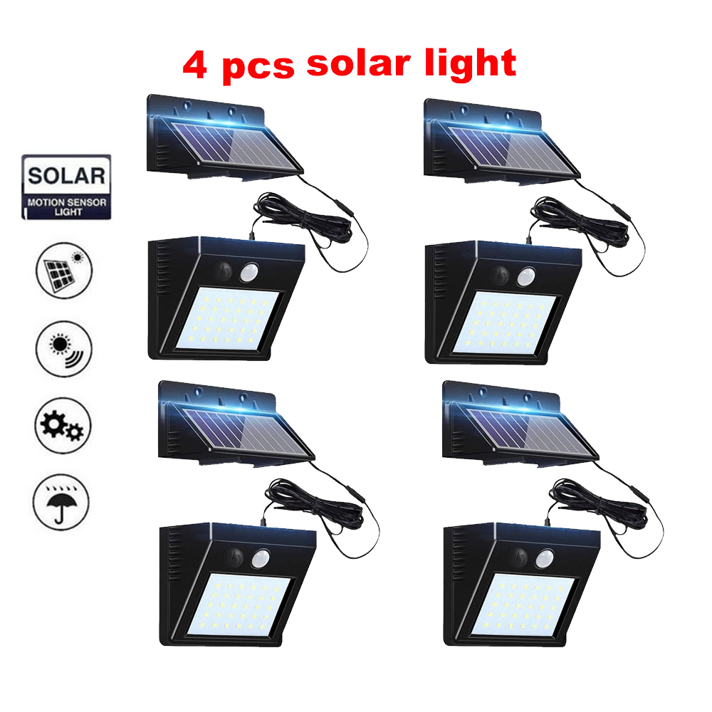 2/4pcs 100/56/30 LED Waterproof PIR Motion Sensor Wall Lamp 4 Mode Solar Light For Outdoor Rotable Pole Garden Wall Waterproof L