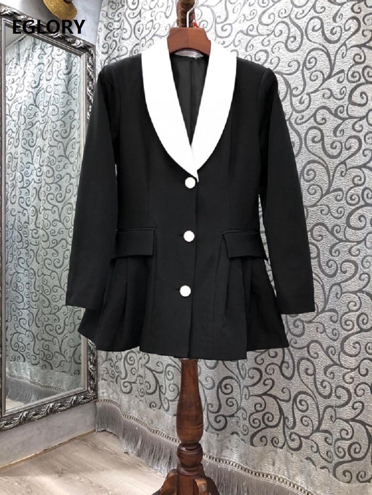2020 Autumn Winter Fashion Blazer Jackets High Quality Women White Turn-down Collar Ruffle Patchwork Elegant Black Blazer Coats