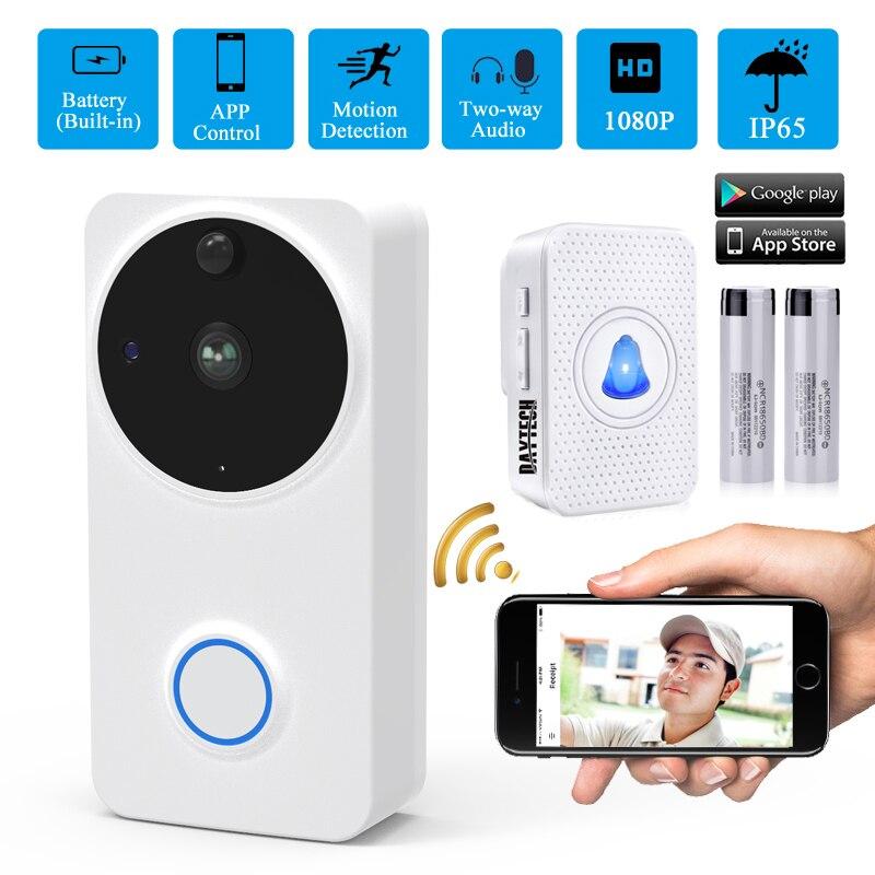 DAYTECH Wireless Video Camera Doorbell Intercom Door Phone Outdoor 1080P WiFi Camera Battery IP65 Door Bell Alarm Home Security