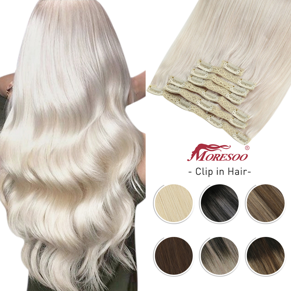 Human-Hair-Extensions Natural-Machine Clip-In Moresoo Straight Brown Blonde Silky Double-Weft-Balayage