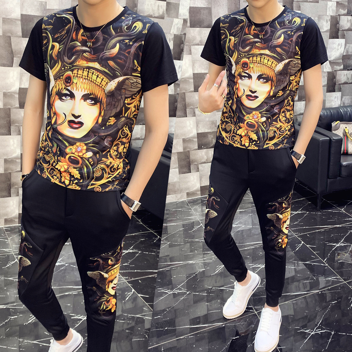 2020 Spring Two Piece Set Men Slim Fit Outfits Men Set Short Sleeve T Shirt 2 Piece Set Top And Pants Men High Quality Tracksuit