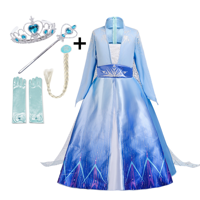 2020 Snow Queen 2 White Girls Anna Elsa Dress Halloween Costume Child Easter Children Gowns Infant Carnival Kids Holiday Dress