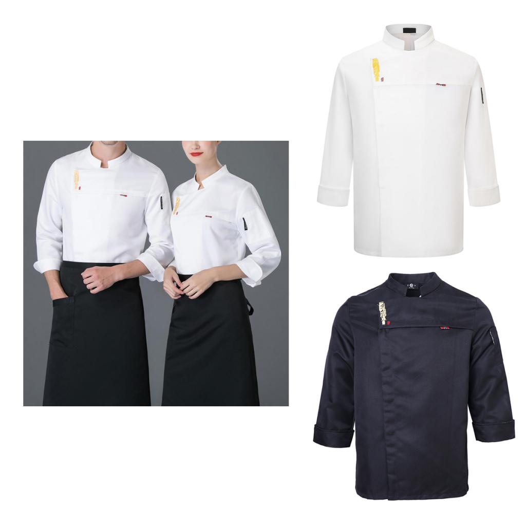 Large Size Chef Jackets Long Sleeves Coat Chef Uniform Hotel Restaurants Work Apparel Poly-cotton Food Service Cook Jacket Coat