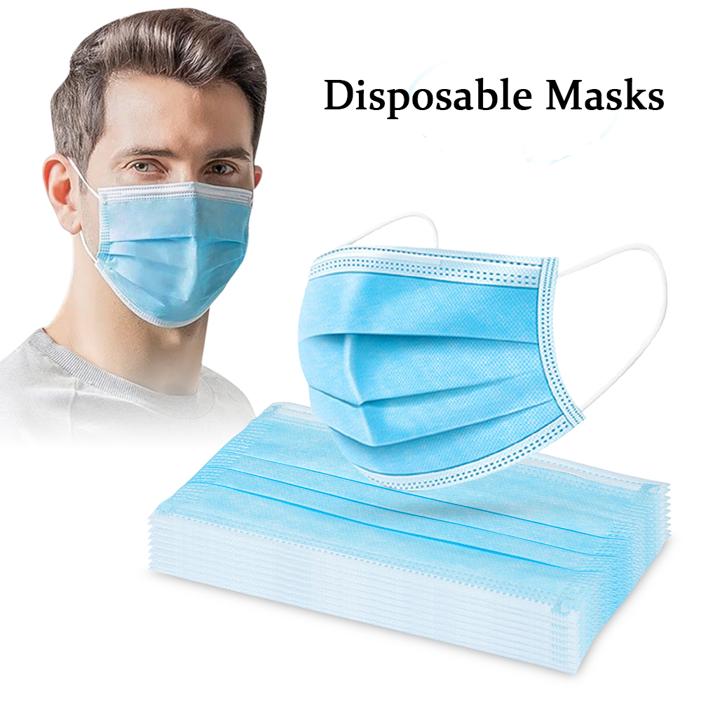 100PCS Disposable Face Mask Antivirus 3-Layer Protective Masks Safety Anti Smog Non Woven Anti-Dust Mouth-muffle Bacteria Masks