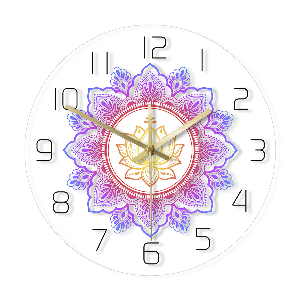 Mandala With Lotus Flower Modern Wall Clock OM Studio Sign Living Room Bedroom Bohemian Wall Decor Psychedelic Wall Clock Watch