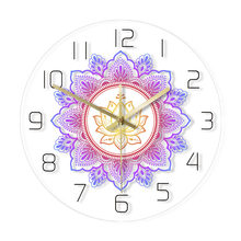 Mandala Met Lotus Bloem Moderne Wandklok Om Studio Teken Woonkamer Slaapkamer Bohemian Muur Decor Psychedelische Wandklok Horloge