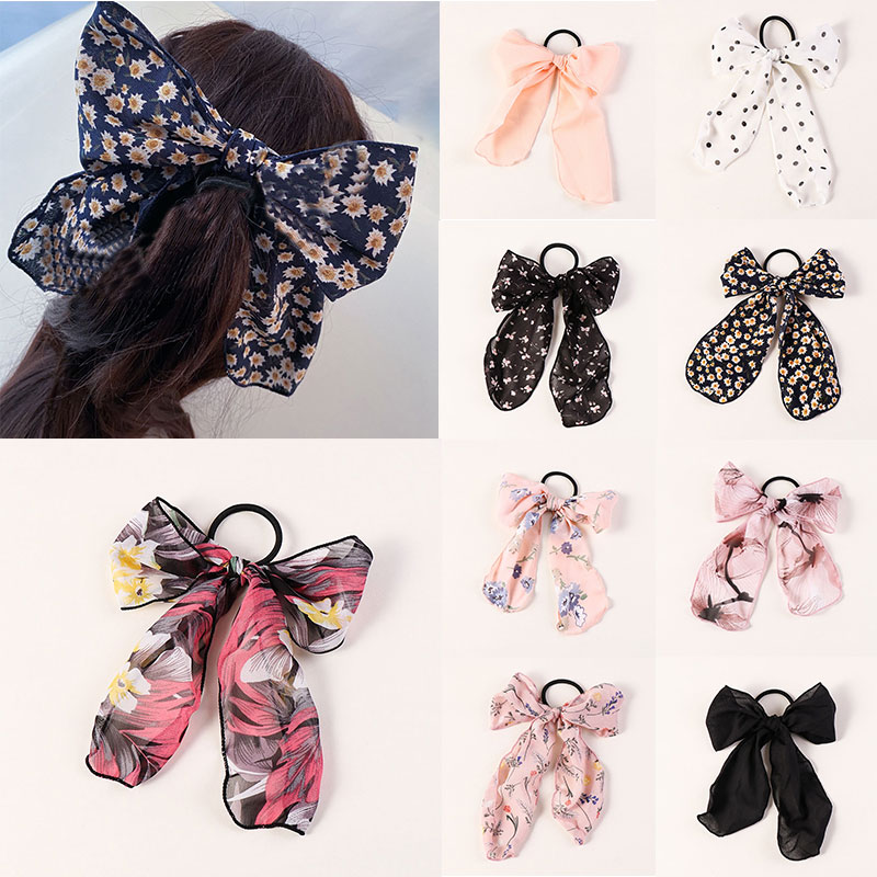 Korean Floral Chiffon Bow Hair Ring Women Elastic Hair Rubber Band Ponytail Holder Ties For Girls Sweet Cute Hair Accessories