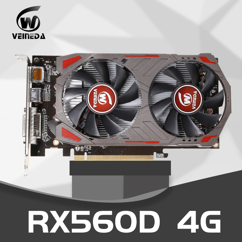 VEINIDA RX560D 4GB GDDR5 128bit PCI-E 3.0 HDMI DisplayPort DVI-D 1176/6000MHz Graphics Card for nVIDIA Geforce Games image