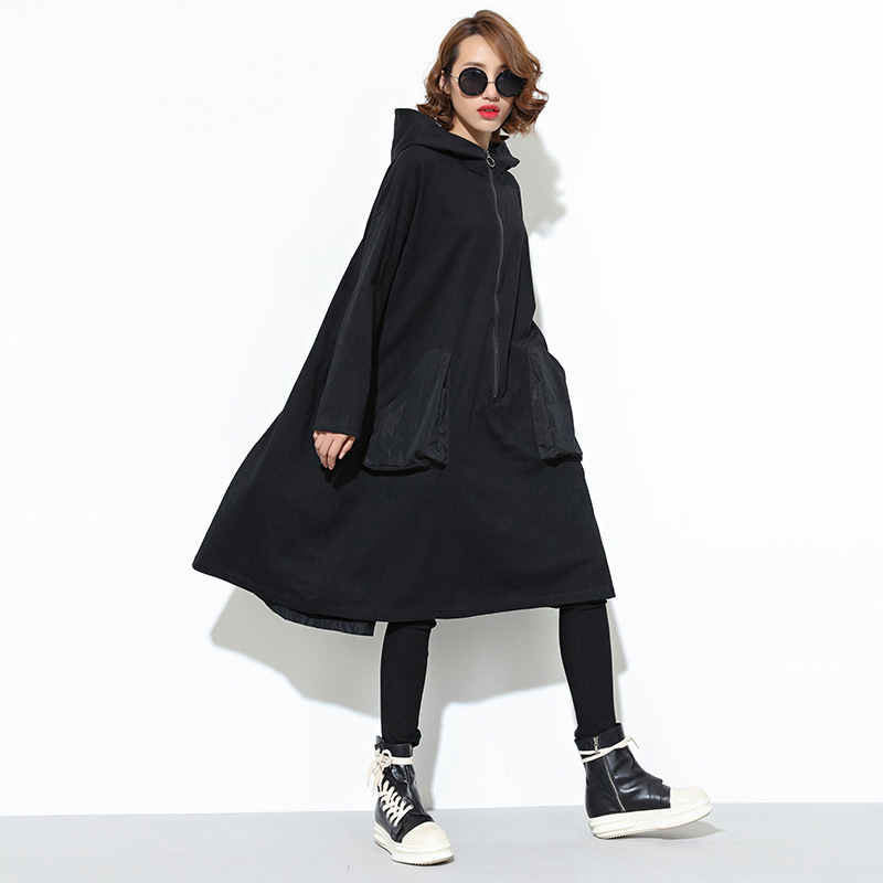 Johnature Streetwear Loose Long Hoodies Autumn Winter 2019 New Fashion Women Zipper Black Full Sleeve Pullovers Sweatshirts