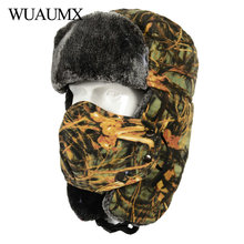 Wuaumx Winter Bomber Hats Thicken Camouflage Russian
