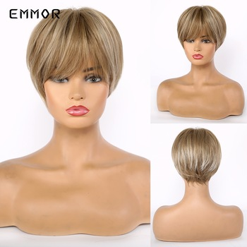 цена на EMMOR Synthetic Highlight Ash Brown Short Straight Layered Hair Wigs for White Black Women Heat Resistant Fiber Wig