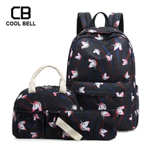 School Unicorn Backpack 3pcs/set Casual Sports Canvas Waterproof Bag For Girls Purses And Handbags Gift